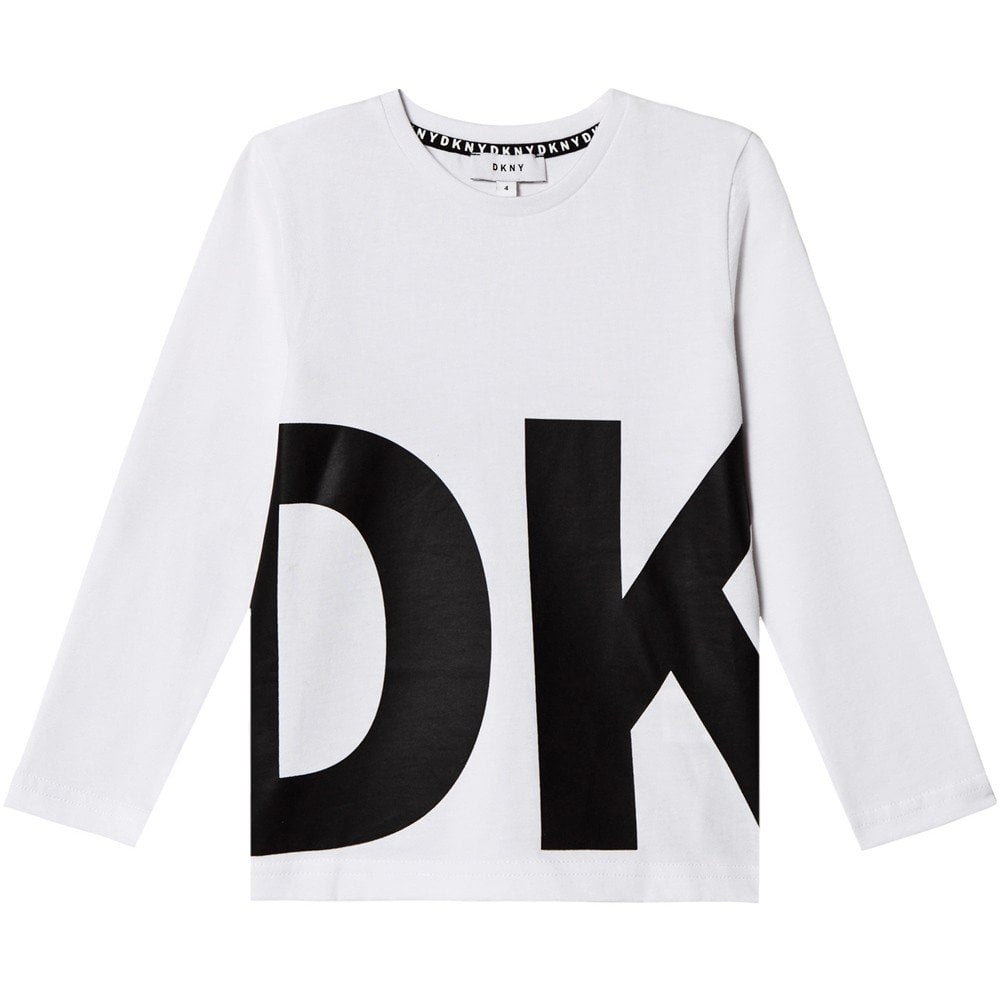 DKNY Kids Logo Print Long Sleeve T-Shirt White  Colour: WHITE, Size: 4 YEARS