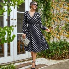 Polka Dot Double Button Wrap Dress