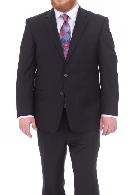 Men's Portly Fit Two Button Super 130s Wool Suit Solid Navy Blue