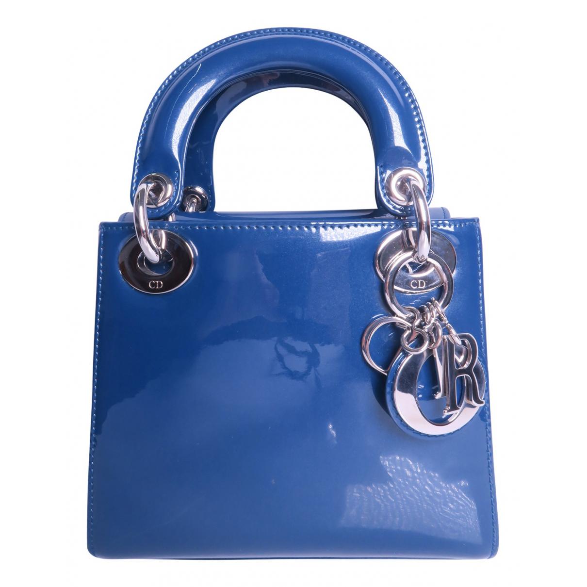Dior Lady Dior Blue Patent leather handbag for Women N