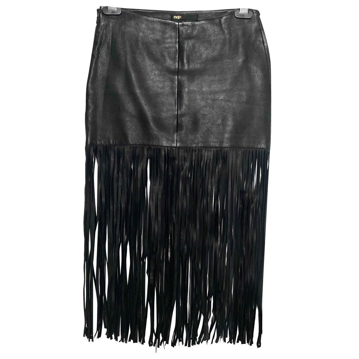 Maje \N Black Leather skirt for Women 36 FR