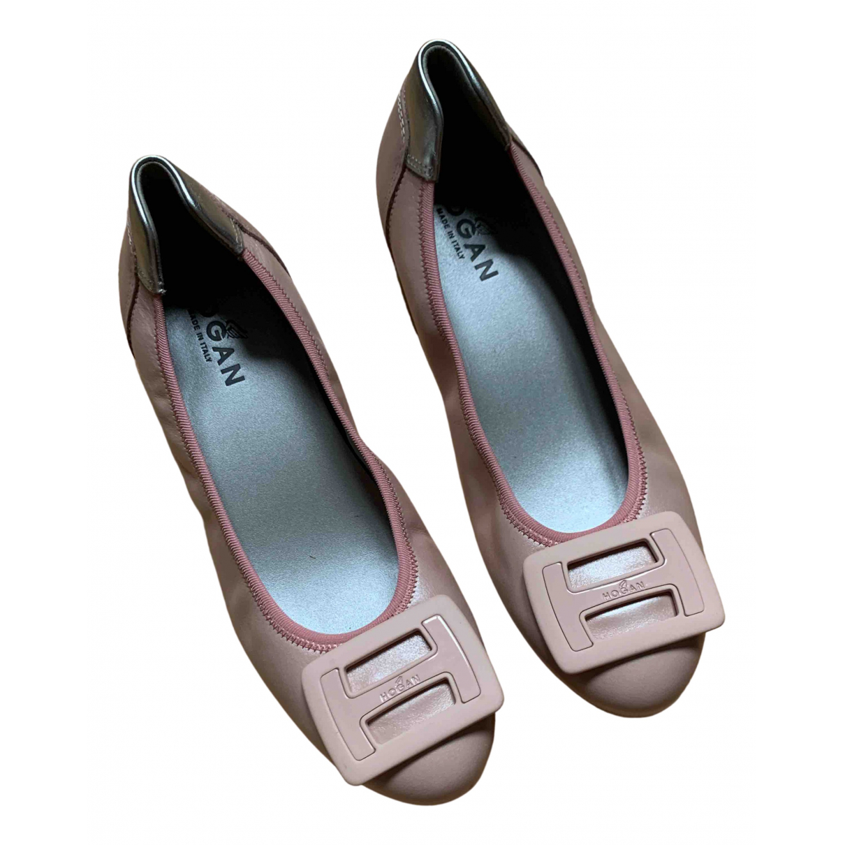 Hogan \N Ballerinas in  Rosa Leder