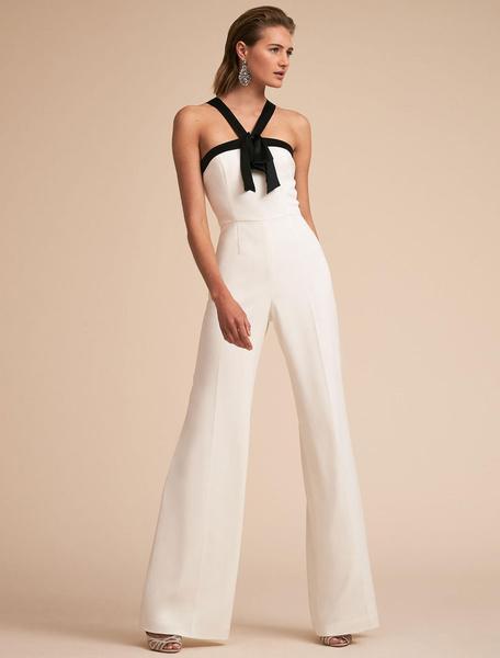 Milanoo Women White Jumpsuit Straps Two Tone Backless Long Wide Leg Jumpsuit