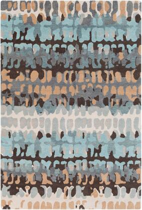 Technicolor TEC-1009 8 x 10 Rectangle Modern Rugs in Light Gray  Ivory  Sea Foam  Aqua  Dark Brown