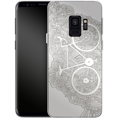 Samsung Galaxy S9 Silikon Handyhuelle - Bike Drawing Meditation von Kaitlyn Parker