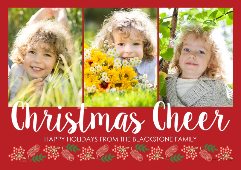 Christmas Photo Cards 5x7 Cards, Premium Cardstock 120lb, Card & Stationery -Christmas Cheer Script