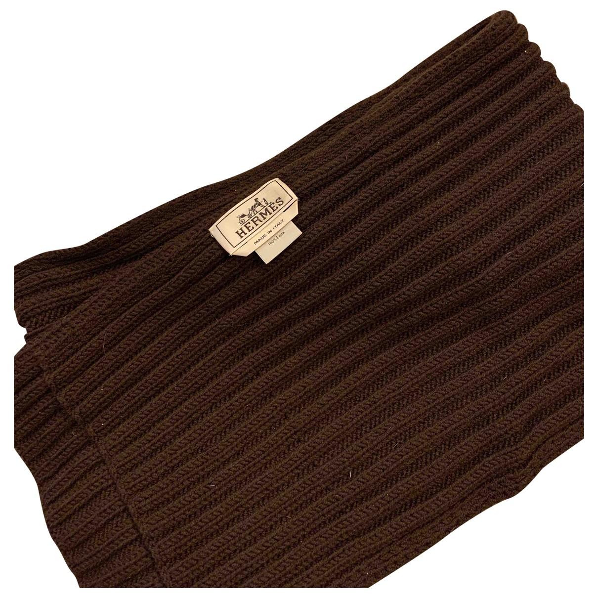Hermes - Cheches.Echarpes   pour homme en laine - marron