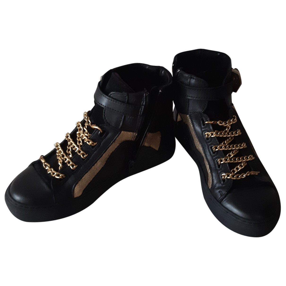 Non Signé / Unsigned N Black Leather Trainers for Women 36 EU