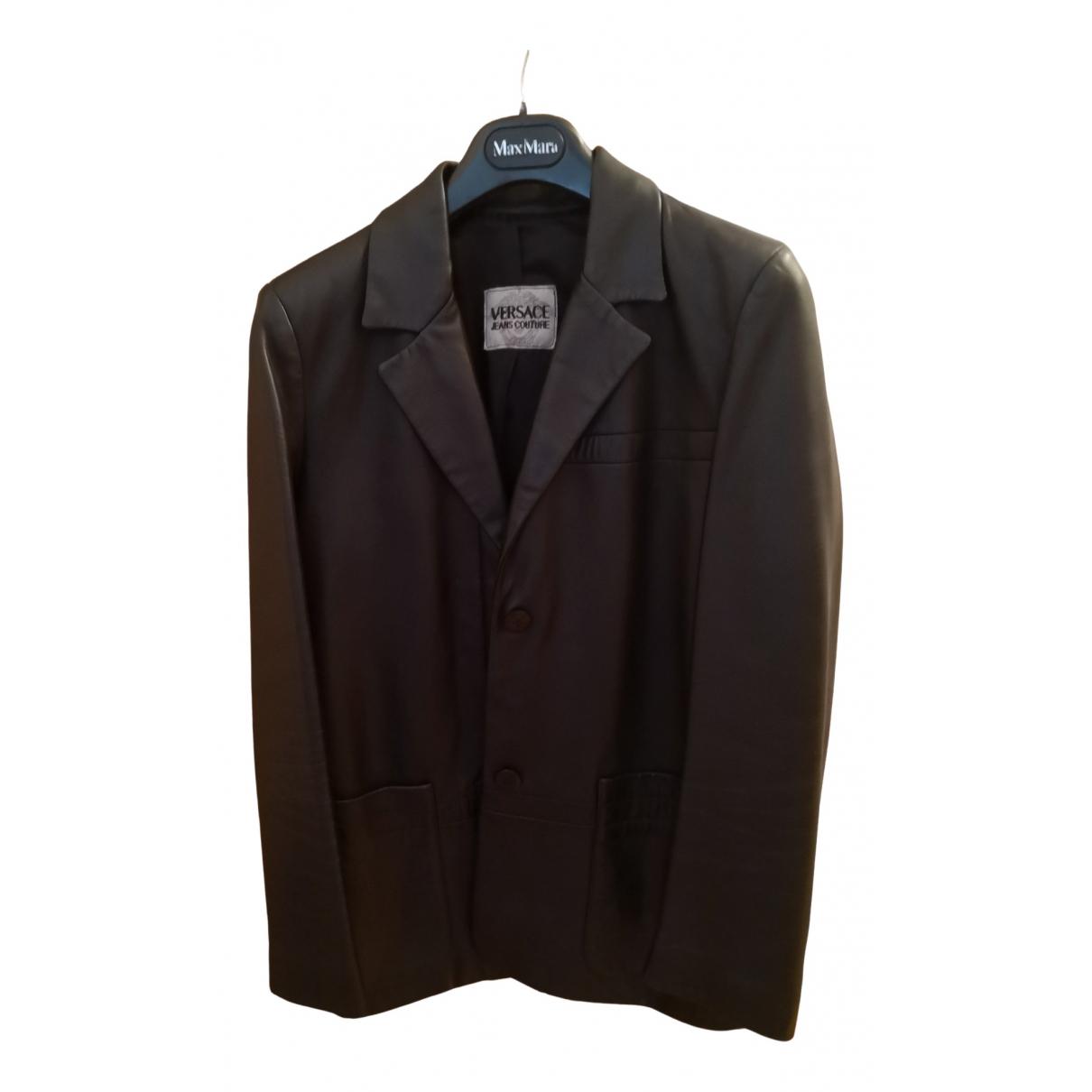 Versace Jeans \N Black Leather jacket for Women 42 IT