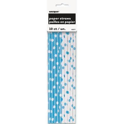 Party Paper Pailles à boire Pois décoratifs Poudre Bleu 10Pcs