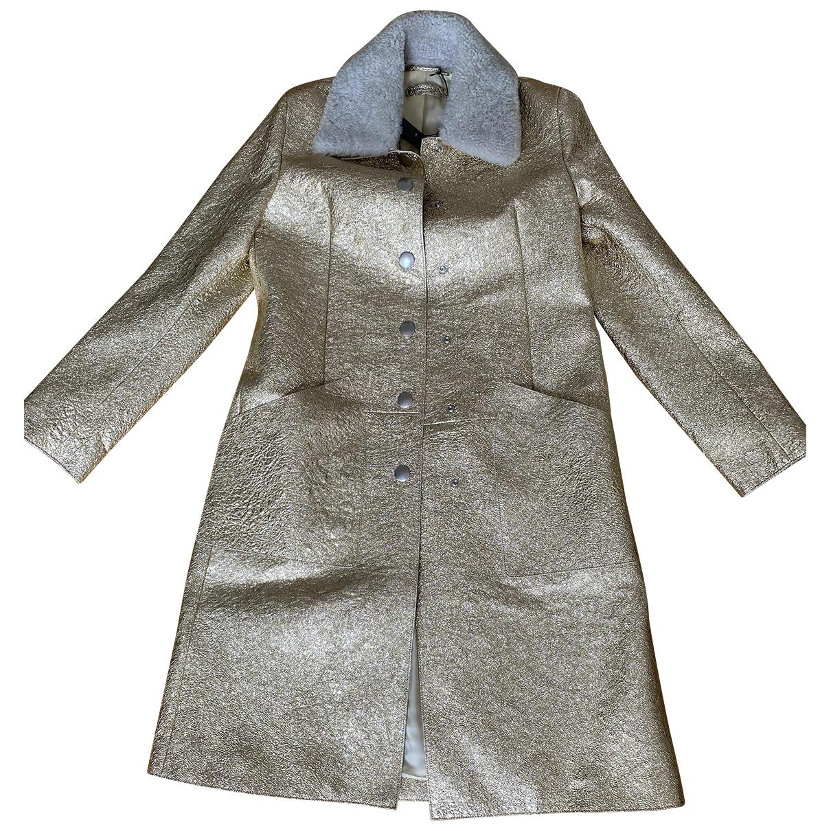 Bottega Veneta - Manteau   pour femme en cuir - dore