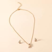 1pc Rhinestone Butterfly Pendant Necklace & 1pair Earrings