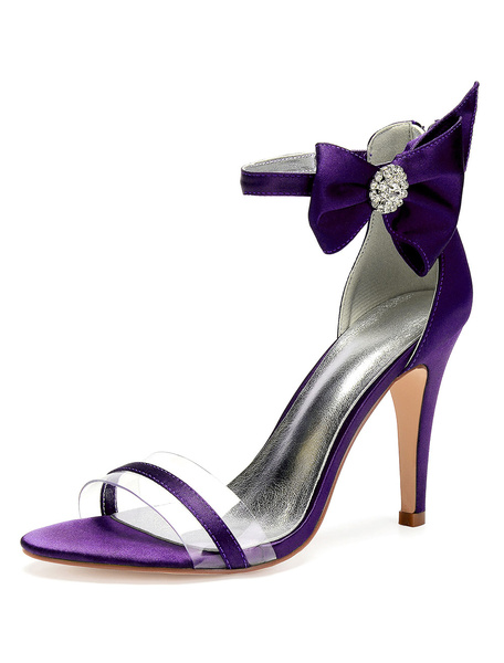Milanoo Satin Mother Shoes Burgundy Open Toe Rhinestones Bow Ankle Strap Wedding Shoes