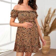 Maternidad vestido floral de margarita ribete con fruncido de hombros descubiertos