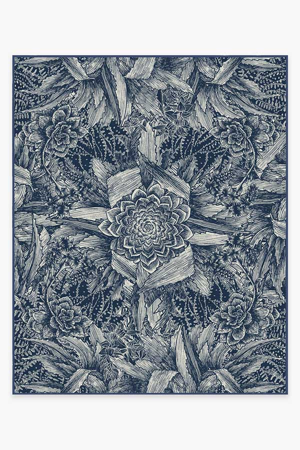 Washable Rug Cover & Pad   Echeveria Navy Rug   Stain-Resistant   Ruggable   8'x10'