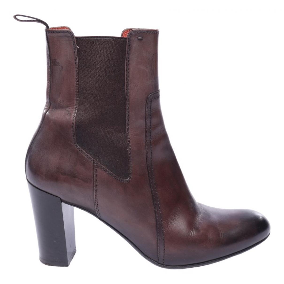 Santoni - Boots   pour femme en cuir - marron