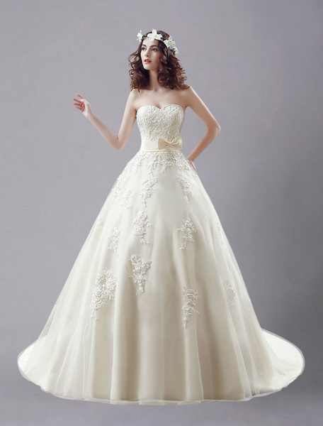 Milanoo Champagne Wedding Dress Strapless Embroidered Bow Lace Up Wedding Gown