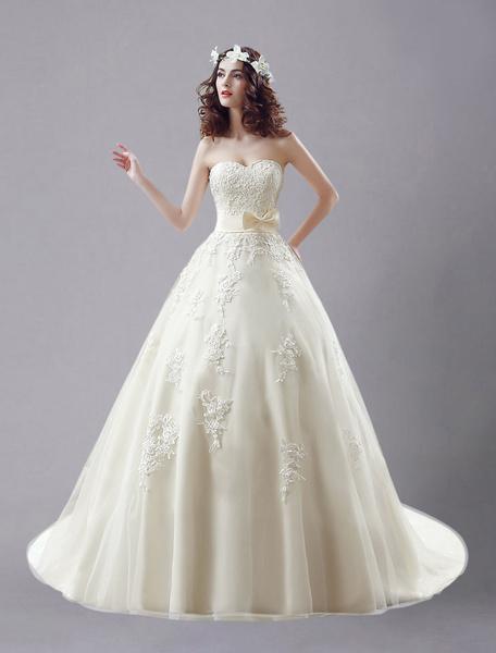 Milanoo Champaña vestido de novia de tul con escote en corazon y bordado