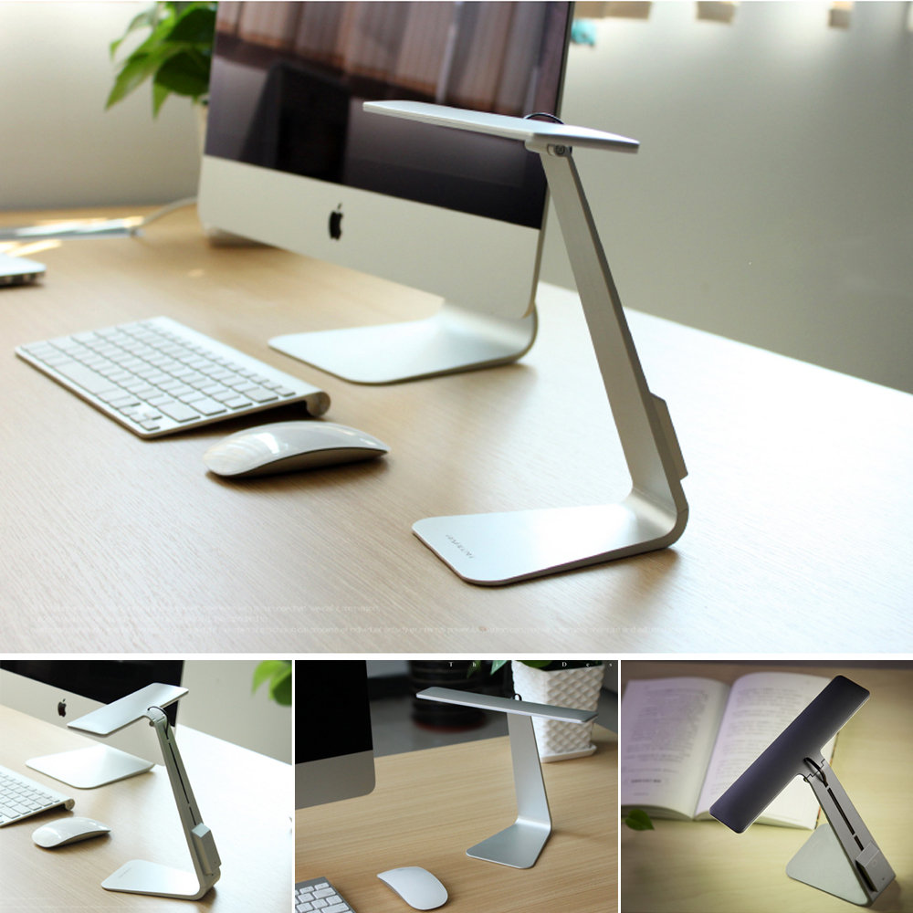 Ultrathin LED Desk Lamps 3 Mode Dimming Touch Switch USB Rechargable Foldable Reading Bedside Table