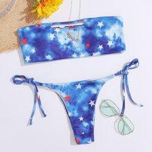 Bandeau Bikini Badeanzug mit Batik und Stern Muster