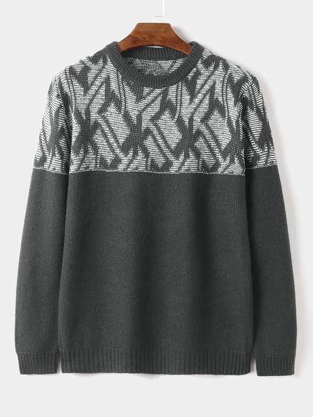 Yoins Men Winter Warm Geometric Print Casual Round Neck Knitting Sweater