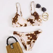 Bikini Badeanzug mit Batik und V Kragen