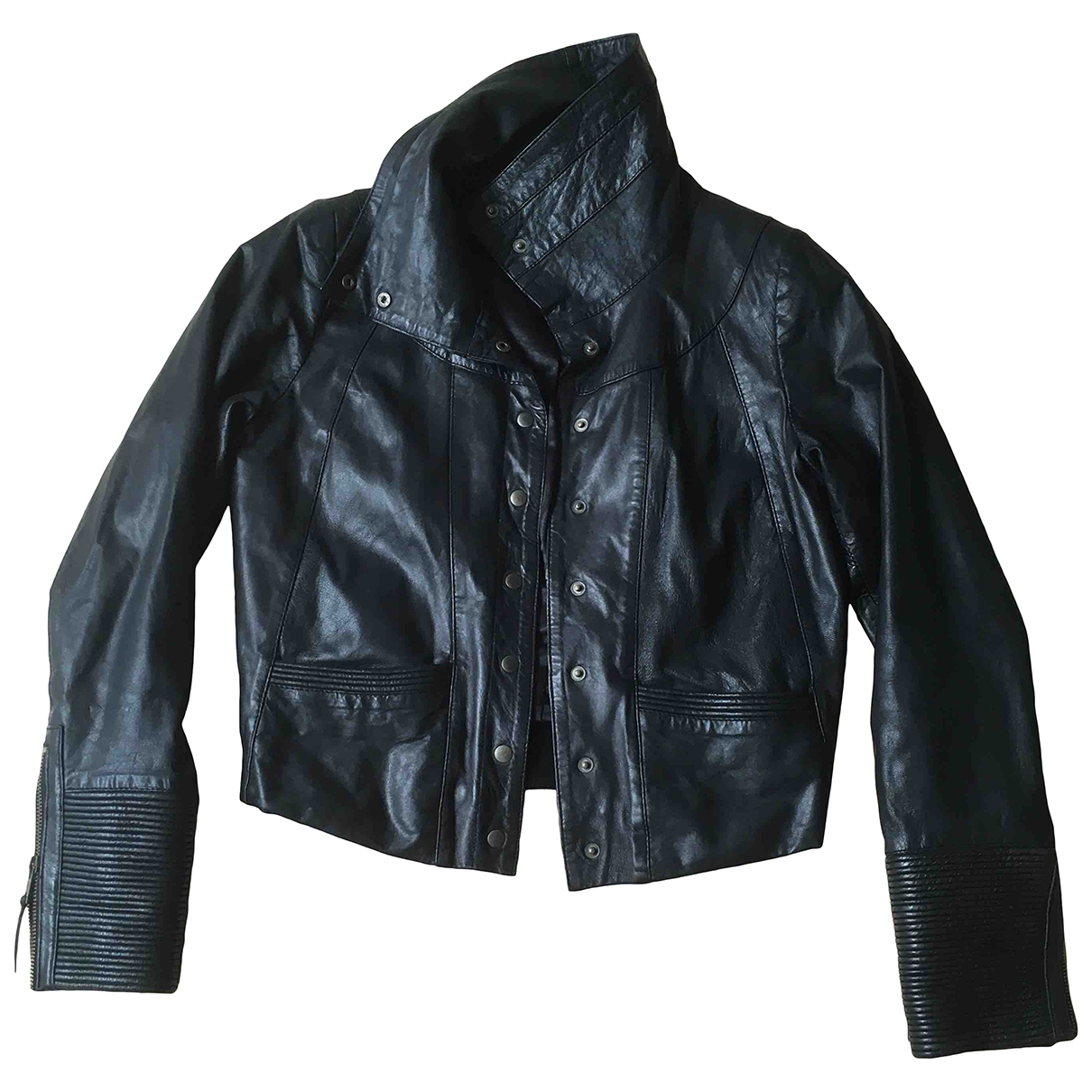 Non Signé / Unsigned \N Black Leather Leather jacket for Women 34 FR