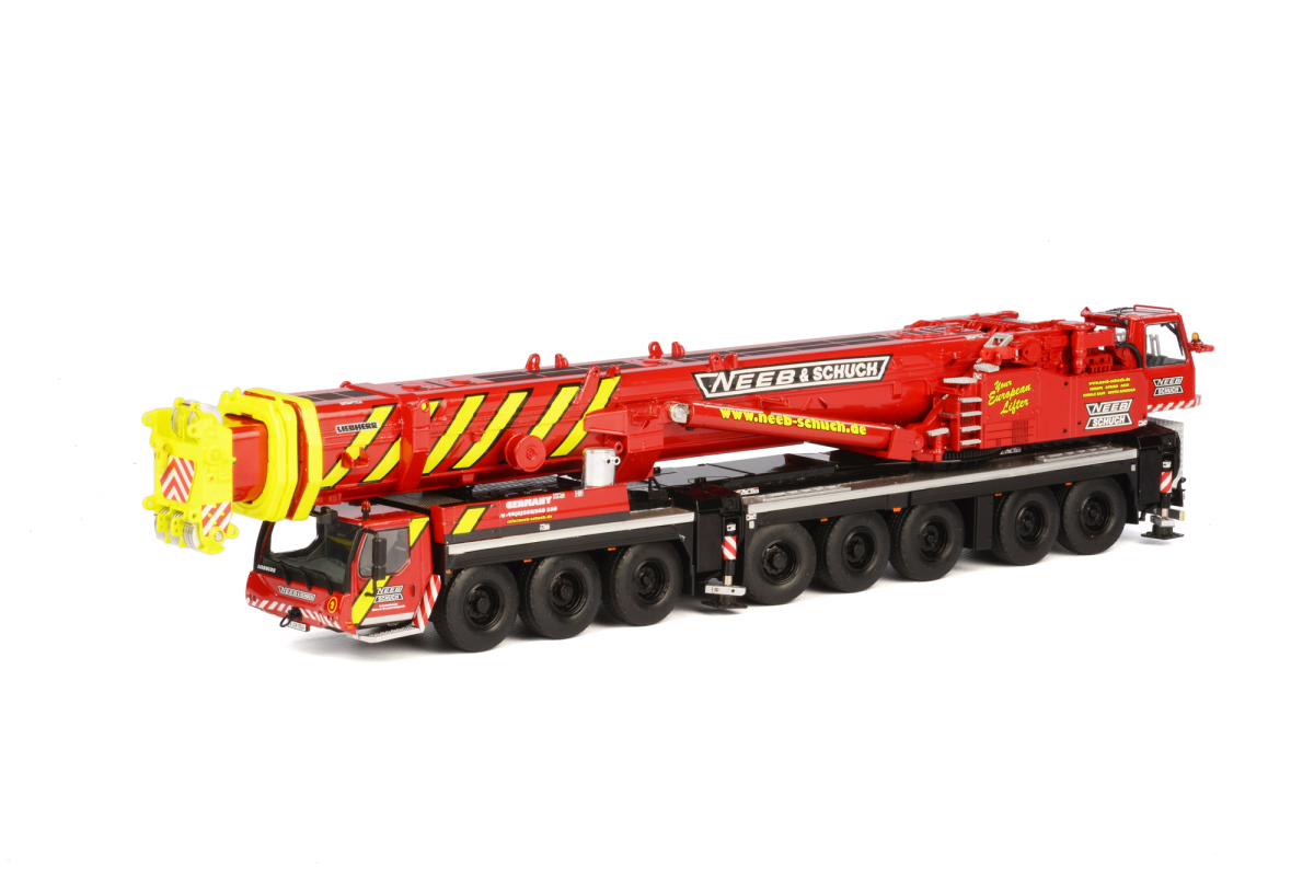 Liebherr LTM 1500-8.1 Neeb & Schuch Mobile Crane Red and Yellow 1/50 Diecast Model by WSI Models