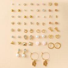 30pairs Faux Pearl Flower Decor Earrings