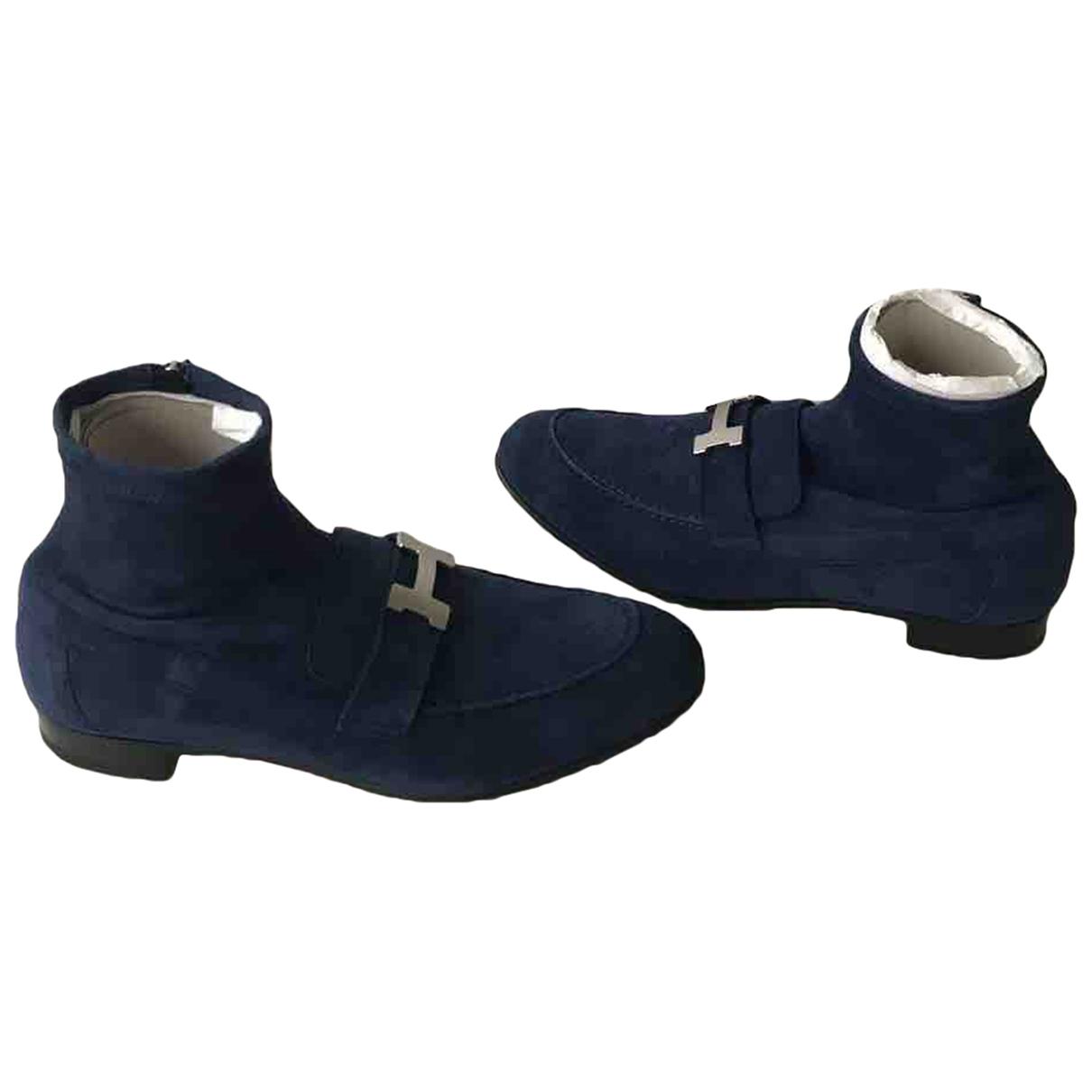 Hermes - Boots Saint-Honore pour femme en suede - bleu