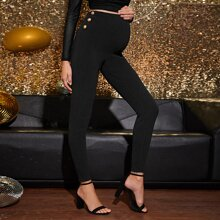 Maternidad pantalones ajustados con boton lateral