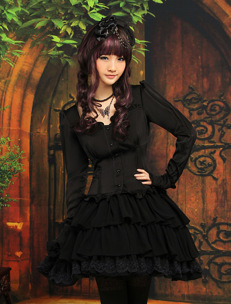 Milanoo Classic Ruffles Long Sleeves Black Lolita Outfits