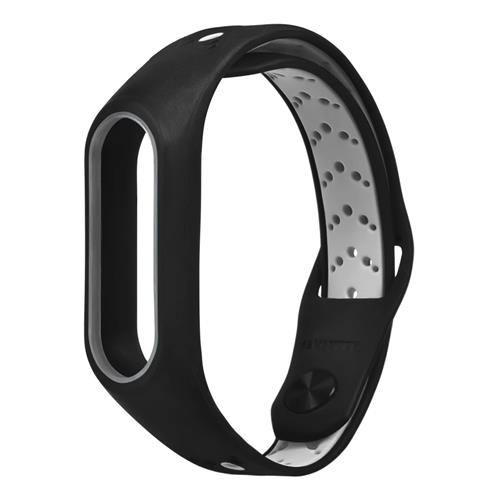 Replacement Wrist Strap Wearable Silicon Wristband For Xiaomi MI Band 2 Smart Bracelet - Black+Gray
