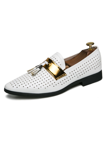Milanoo Mens White Loafers Shoes Cosy PU Leather Slip-On Shoes With Mental details