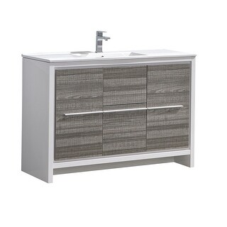 Fresca FCB8148-I Senza 48 Single Vanity Set with Wood Cabinet and (Ash Gray)