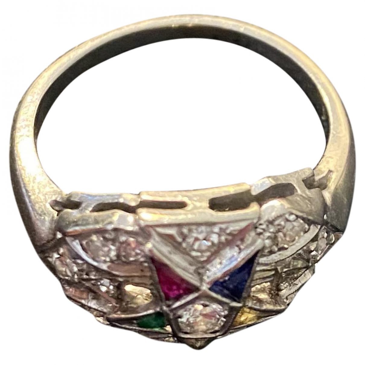 Non Signe / Unsigned Motifs Etoiles Ring in  Silber Weissgold