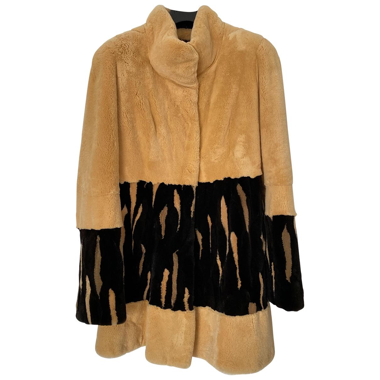 - Manteau   pour femme en lapin - jaune