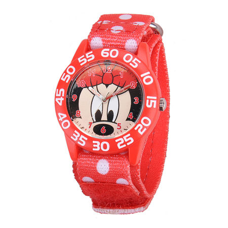 Disney Minnie Mouse Kids Time Teacher Print Nylon Fast Strap Watch, One Size , No Color Family
