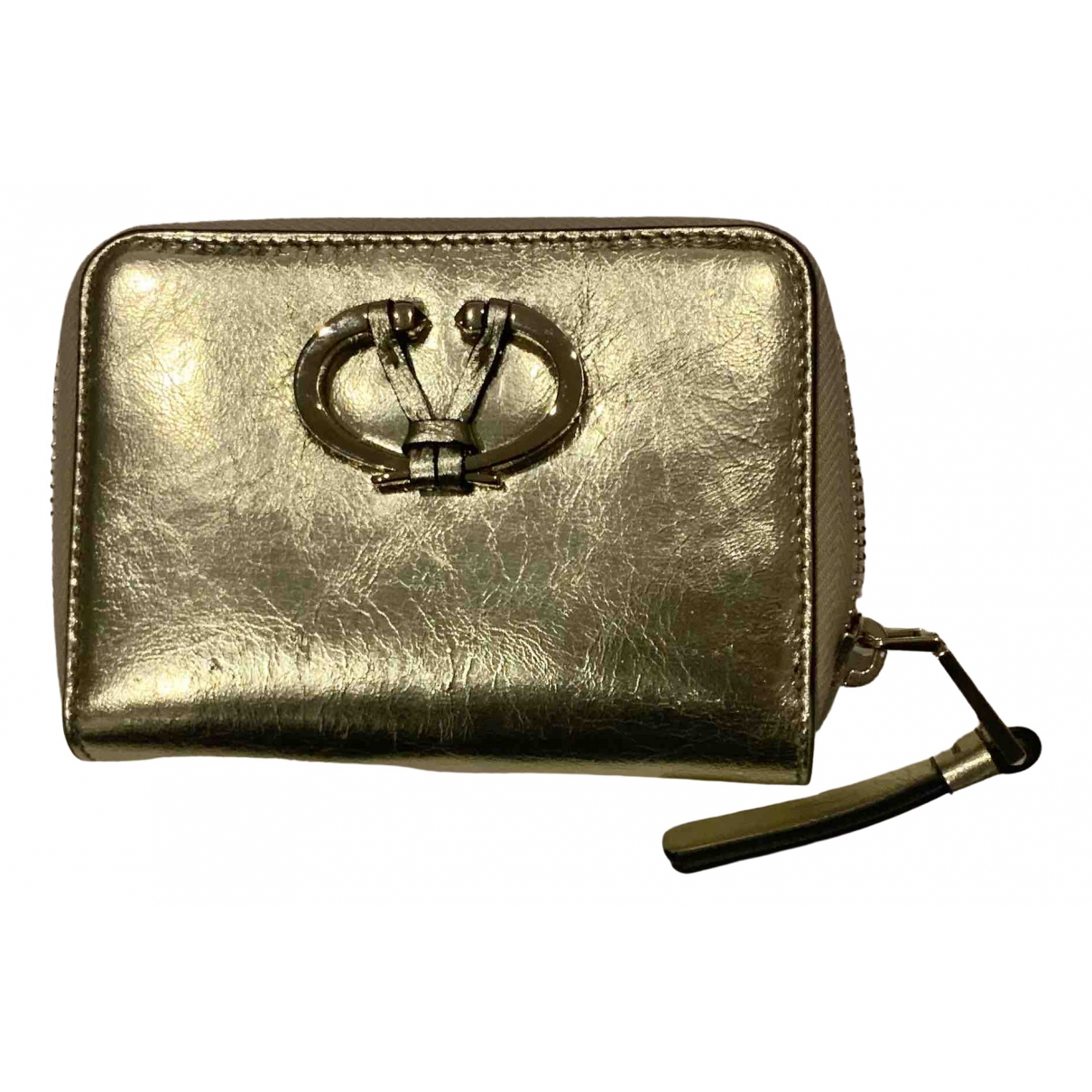 Valentino Garavani - Petite maroquinerie   pour femme en cuir - dore