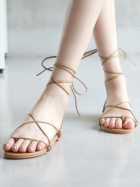 Milanoo Sandalias planas para mujer Chic Flat PU Leather