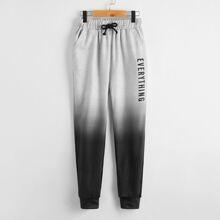 Jogginghose mit Buchstaben Grafik, Kordelzug auf Taille und Farbverlauf