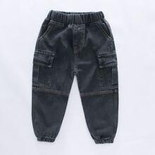 Toddler Boys Flap Pocket Tapered Jeans