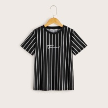 Jungen T-Shirt mit Buchstaben Grafik und Streifen
