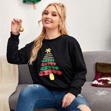 Plus Christmas Tree Print Sweatshirt