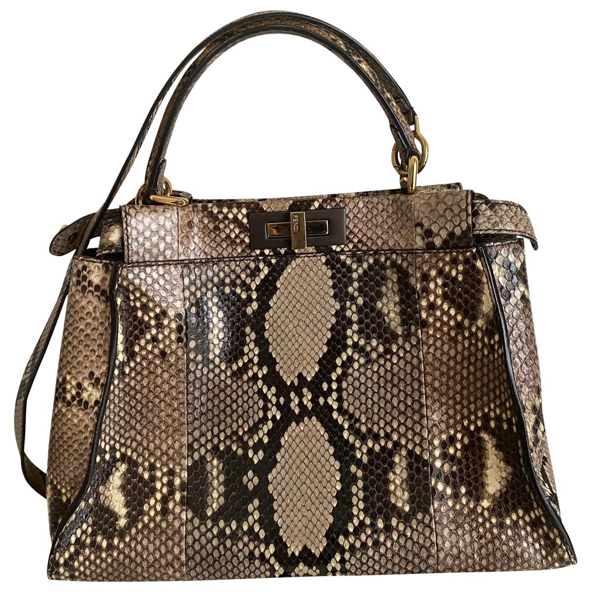 Fendi Peekaboo Handtasche in  Khaki Python