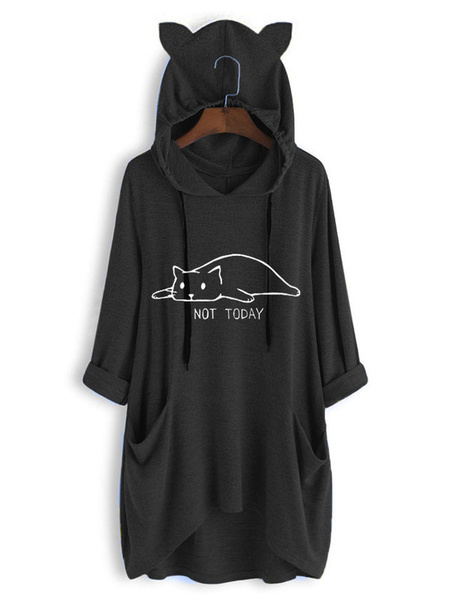 Milanoo Women Oversized Hoodie Burgundy 3/4 Length Sleeves Animal Print Lace Up Pockets Long Sweatshirt