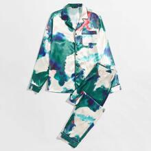 Guys Splash Ink Print Button Front Shirt & Pants PJ Set