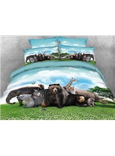 Safari Animals under Blue Sky Natural 3D 4-Piece Bedding Sets/Duvet Covers