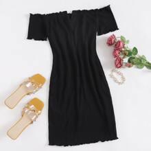 Off Shoulder Notched Neck Lettuce Trim Rib-knit Dress