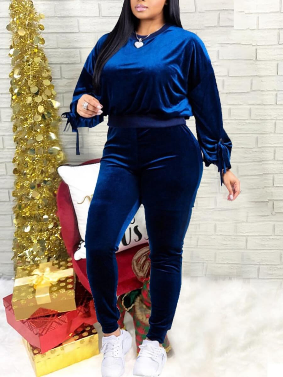 LW Lovely Casual O Neck Blue Plus Size Two-piece Pants Set